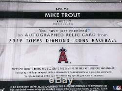 1/1 MIKE TROUT 2019 Topps Diamond Icons Autograph Patch 1/1 Gold! 1/1
