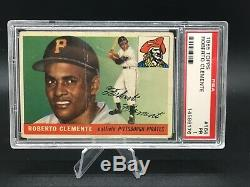 1955 topps #164 roberto clemente hof rc psa 1 crease but centered with no pd