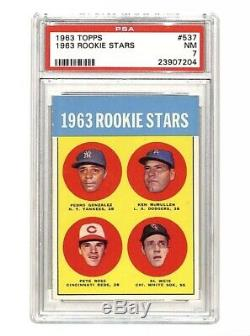 1963 Topps #537 Rookie Stars Pete Rose rookie RC card PSA 7 HIGH GRADE Reds