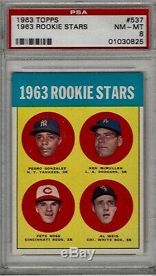 1963 Topps Rookie Stars #537 Pete Rose Rookie Psa 8 Nm-mt Super High End Beauty