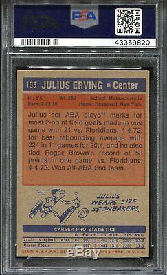 1972 Topps #195 Julius ERVING PSA 7 Rookie HOF Centered! High End Top Condition