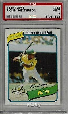 1980 Topps Rickey Henderson #482 Rookie Card Psa 9 Mint Amazing High-end Card