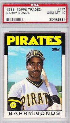 1986 Topps Traded Barry Bonds Rookie Card PSA 10 Gem Mint RC #11T Pirates Giants