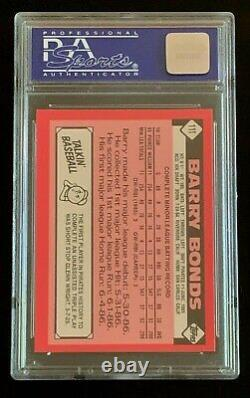 1986 Topps Traded Tiffany #11T Barry Bonds PSA 9 Rookie RC Card Centered. New