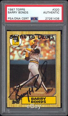 1987 Topps #320 Barry Bonds RC PSA/DNA Autographed Say No To Drugs Inscription