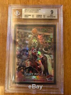 2003-04 Lebron James Topps Chrome Black Refractor /500 Bgs 9 Rc. 5 Away From Gem