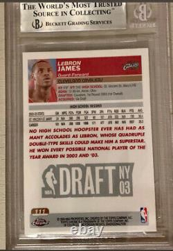 2003/04 Topps Chrome Lebron James RC #111 BGS 9 With 2 9.5 Sub Grades Lakers