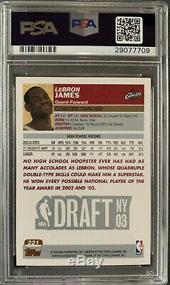 2003 Topps Basketball LeBron James ROOKIE RC #221 PSA 10! GEM MINT CLEAN CASE