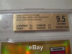 2005 Topps Chrome Gold Refractor Aaron Rodgers RC 6/50 BGS 9.5 RARE ROOKIE MINT