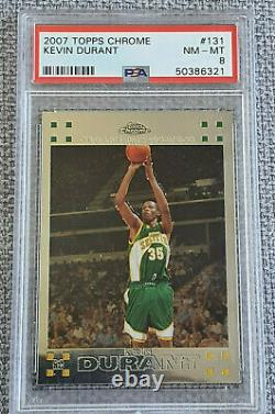 2007-08 Topps Chrome Kevin Durant Rookie RC #131 PSA 8 Seattle SuperSonic