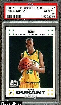 2007 Topps Basketball #2 Kevin Durant RC Rookie Supersonics PSA 10 GEM MINT