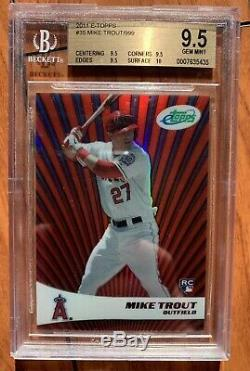 2011 Mike Trout etopps refractor rookie card RC BGS 9.5 9.5 9.5 10 RARE /799