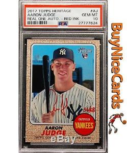 2017 Aaron Judge Topps Heritage Real One Red Ink Auto /68 PSA 10 Pop 10