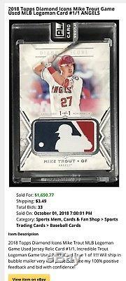2017 Topps Diamond Icons Mike Trout 1/1 filthy LOGOMAN patch 2018 MVP candidate