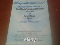 2018 Topps Chrome Ronald Acuna Jr Refractor Auto Rookie Redemption Card
