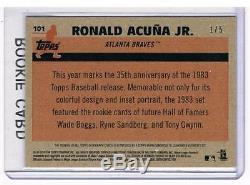 2018 Topps UPDATE Chrome Ronald Acuna 1983 RED Refractor ROOKIE Auto 1/5 BRAVES