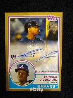 2018 Topps Update Ronald Acuna Jr. GOLD PARALLEL SSP RC AUTO #/50 BRAVES