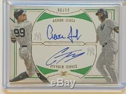 2019 Topps Definitive AARON JUDGE & GLEYBER TORRES Dual Green On Card Auto /10