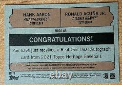 2021 Topps Heritage Hank Aaron / Ronald Acuna Jr. Dual Real One Auto 12/25