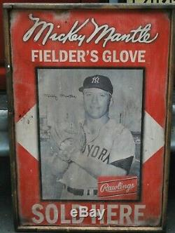 Antique Style Mickey Mantle Rawlings Glove Sign 24x36! HUGE