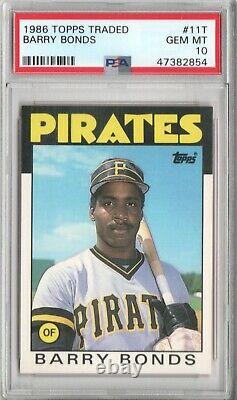 Barry Bonds Pirates Giants 1986 Topps Traded #11T Rookie Card Rc PSA 10 Gem Mint