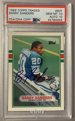 Barry Sanders Autographed Signed 1989 Topps Traded RC PSA 10 GEM 10 Auto