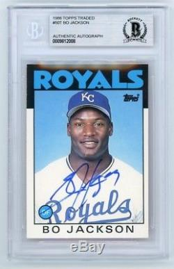 Bo Jackson 1986 Topps Traded Autographed Auto Card #50T BAS
