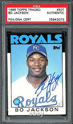 Bo Jackson Autographed 1986 Topps Traded Rookie Card #50T PSA/DNA #25942073