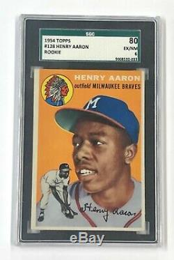Braves Hank Aaron 1954 Topps #128 SGC 80 Ex/NM 6 PSA Well Centered Rookie