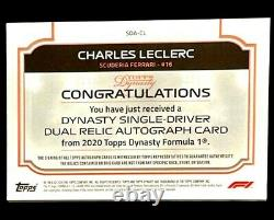 Charles Leclerc Topps Dynasty 2020 F1 Formula 1 Auto Patch 3/5 Nascar Dual Relic