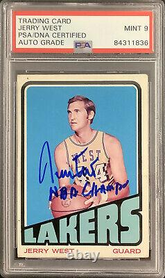 Jerry West Signed 1972 Topps #75 Card Lakers HOF NBA Champs Insc PSA/DNA Auto 9