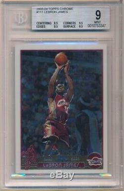 LEBRON JAMES 2003/04 TOPPS CHROME #111 RC ROOKIE CAVALIERS BGS 9 MINT With (3) 9.5