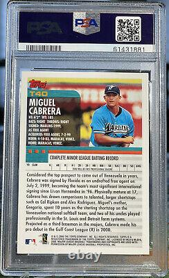 Miguel Cabrera 2000 Topps Traded Rookie Card #T40 Non Auto RC PSA 10 MLB HOF