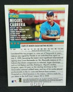 Miguel Cabrera 2000 Topps Traded #T40 Rookie Card RC 500 HR Club Future HOF HOT