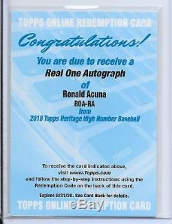 RONALD ACUNA 2018 Topps Heritage High Number Real One AUTO BRAVES