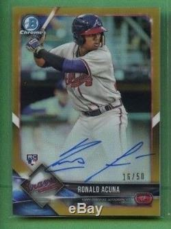 Ronald Acuna 2018 Bowman Chrome Gold Refractor Rookie Auto 16/50 Braves