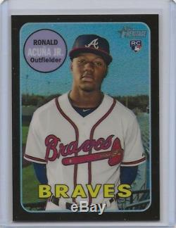 Ronald Acuna 2018 Topps Heritage Chrome Black Refractor RC /69 #580 Braves