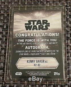 Star Wars Black & White Trading Cards- Green-Autographed-2018-R2-D2-Baker #11/25