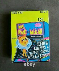 Vintage 1981 Topps Ms. PacMan Trading Cards Stickers & Bubble Gum Box 36 Packs