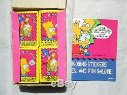 Vintage THE SIMPSONS Trading Cards Stickers Puzzles with Poster Full Box