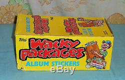 Vintage Topps WACKY PACKAGES 65 packs + STORE DISPLAY BOX trading cards stickers