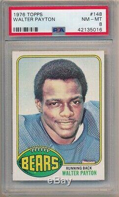 Walter Payton 1976 Topps #148 Rc Rookie Card Chicago Bears Hof Psa 8 Nm-mt